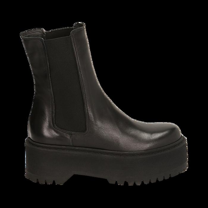 Chelsea boots neri in pelle di vitello, suola 6 cm , Primadonna, 168900202VINERO036