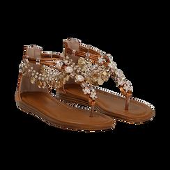 Sandali gioiello flat cuoio in raso ,