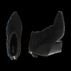 Ankle boots neri in microfibra, tacco 7,50 cm, Promozioni, 160598311MFNERO036, 003 preview