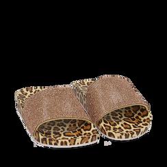 Ciabatte leopard in pvc con strass, 154700973PVLEMA035, 002a