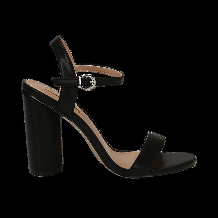 Sandali neri in eco-pelle, tacco 10 cm , Primadonna, 132708374EPNERO035