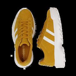 Dad shoes gialle in microfibra stile vintage Seventies, Scarpe, 130101211MFGIAL036, 003 preview