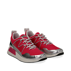 Sneakers fucsia in tessuto tecnico , Scarpe, 132619190TSFUCS035, 002a