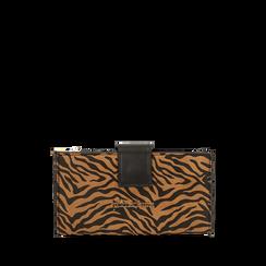 Portafogli zebrato in microfibra, Primadonna, 165122158MFZEBRUNI, 001a