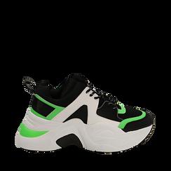 Dad shoes nero/verdi in tessuto tecnico, zeppa 8 cm , Scarpe, 147580471TSNEVE035, 001a