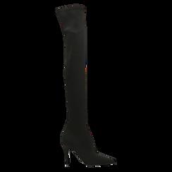 Stivali sopra il ginocchio neri in lycra, tacco 10 cm, Scarpe, 122187852LYNERO, 001 preview