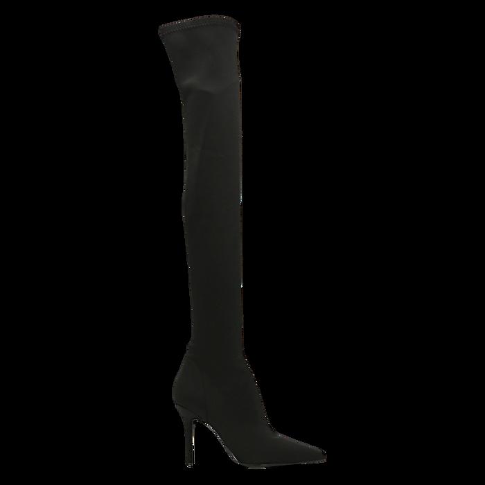 Stivali sopra il ginocchio neri in lycra, tacco 10 cm, Scarpe, 122187852LYNERO