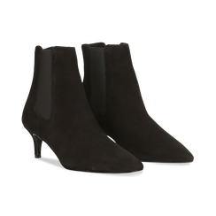 Stivaletti Chelsea neri in vero camoscio, tacco midi 6 cm, Primadonna, 12D618401CMNERO, 002 preview
