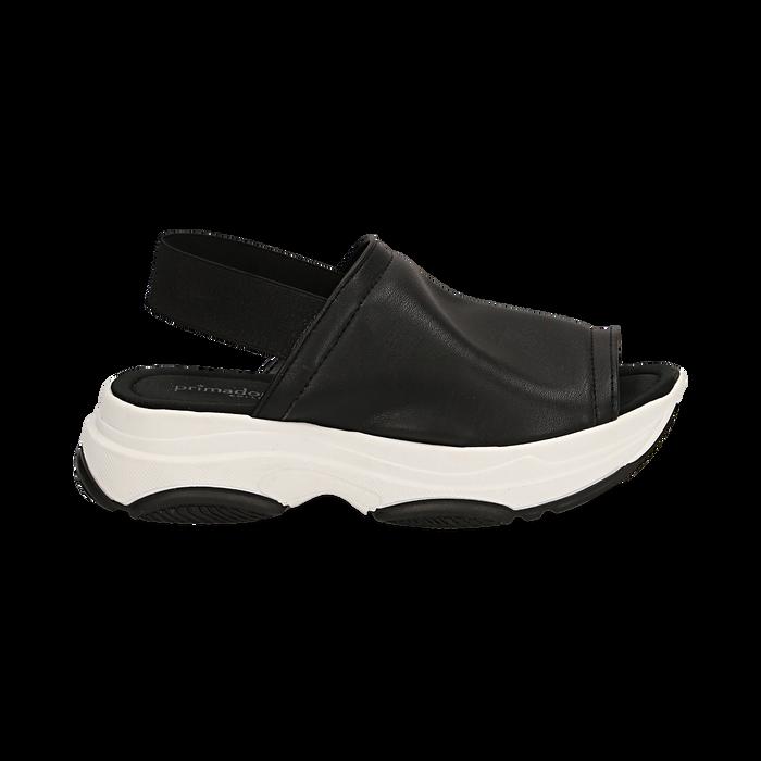 Sandali neri in eco-pelle, zeppa 4,50 cm , Scarpe, 136777206EPNERO036