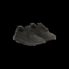 Sneakers nere con lavorazione a intreccio, 120117828EPNERO036, 002
