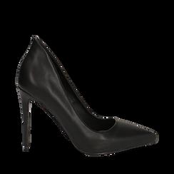 Décolleté nere in eco-pelle, tacco stiletto 10,50 cm , Scarpe, 142182592EPNERO036, 001a