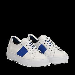 Sneakers bianco/blu in pelle, Scarpe, 137720413PEBIBL035, 002a