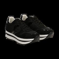 Sneakers nere in microfibra con maxi-suola platform, Scarpe, 132899261MFNERO036, 002 preview