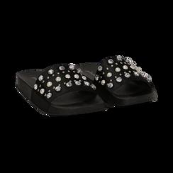 Zeppe nere in raso con perle e strass,