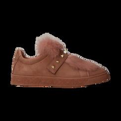 Sneakers rosa nude slip-on con dettagli faux-fur e borchie, Scarpe, 129300023MFNUDE, 001 preview
