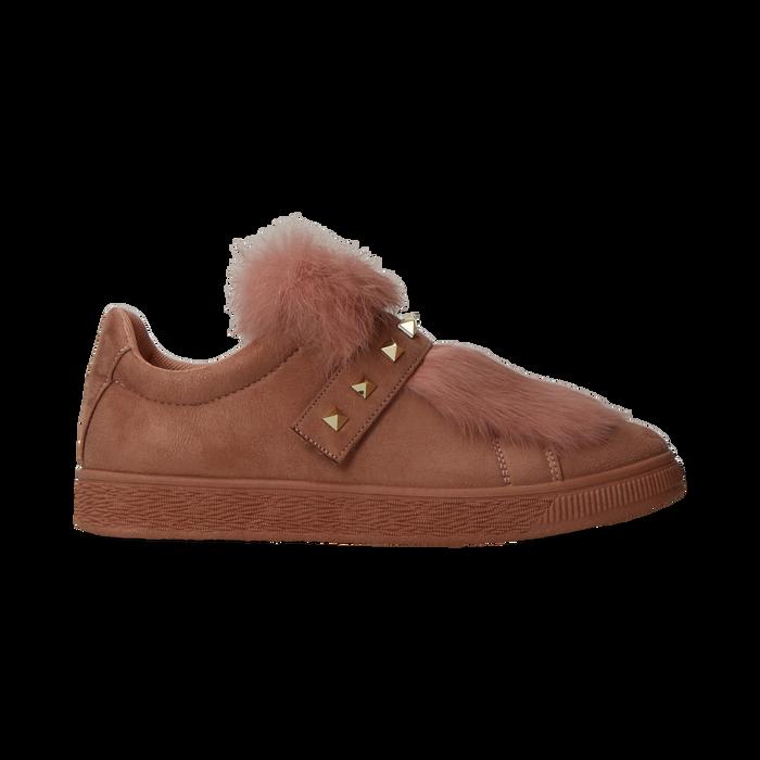 Sneakers rosa nude slip-on con dettagli faux-fur e borchie, Scarpe, 129300023MFNUDE