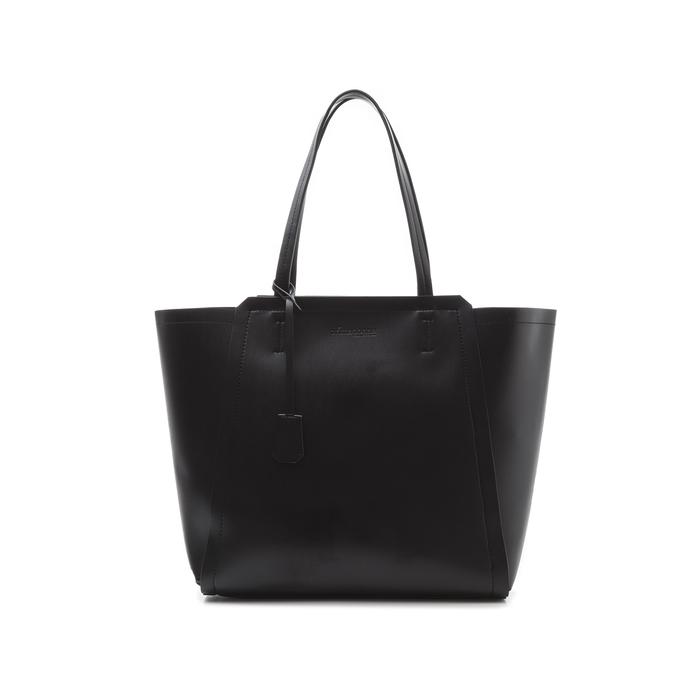 Maxi-bag nera in eco-pelle con design a trapezio, Borse, 133763772EPNEROUNI