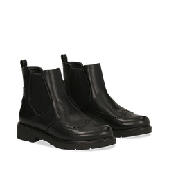 Chelsea boots neri in eco-pelle con lavorazione Duilio, Stivaletti, 140800205EPNERO035, 002a