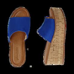 Ciabatte blu cobalto in microfibra, zeppa 7,50 cm , Zapatos, 154968121MFBLCO039, 003 preview