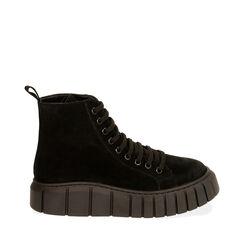 Sneakers nere in camoscio, platform 4 cm , Primadonna, 18A504002CMNERO035, 001a