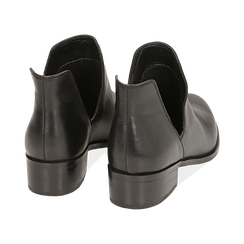 Bottines en cuir noir, talon de 3 cm, Chaussures, 159407601PENERO037, 004 preview