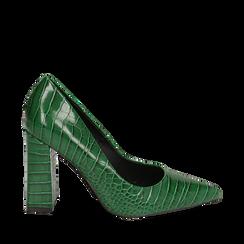 Décolleté verdi eco-pelle effetto coccodrillo, tacco 9,5 cm , Scarpe, 142186671CCVERD036, 001a