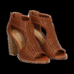 Sandali traforati cuoio in eco-pelle, tacco 9,50 cm,