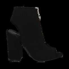 Sandali neri in tessuto con gambale alto, tacco 11 cm, Scarpe, 132156513TSNERO035, 001a