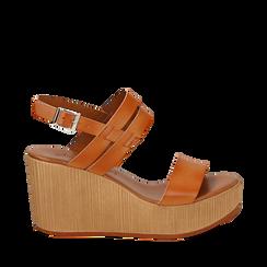 Sandali platform cuoio in eco-pelle, zeppa 8 cm , Primadonna, 13C700259EPCUOI035, 001a