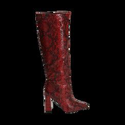 Stivali rossi in eco-pelle stampa pitone, tacco 9,5 cm , Stivali, 142166710PTROSS036, 001 preview