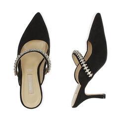 Sabot gioiello neri in microfibra, tacco 8 cm , Scarpe, 172119085MFNERO035, 003 preview