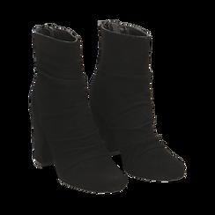 Ankle boots neri in camoscio, tacco 10 cm , Stivaletti, 14D601211CMNERO035, 002 preview