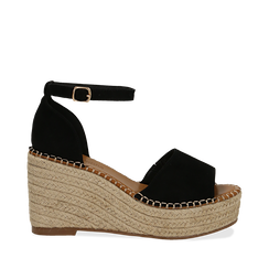 Sandali platform neri in microfibra, zeppa in corda 9,50 cm , Primadonna, 134907132MFNERO037, 001a