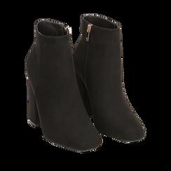 Ankle boots a punta neri in microfibra, tacco 10,5 cm , Primadonna, 142196916MFNERO041, 002a