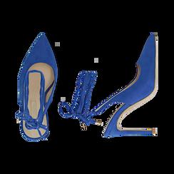 Slingback lace-up blu cobalto in microfibra, tacco 10 cm , Primadonna, 152120715MFBLCO035, 003 preview