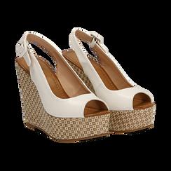 Sandali platform bianchi in eco-pelle, zeppa intrecciata 13 cm , Primadonna, 134907984EPBIAN035, 002 preview
