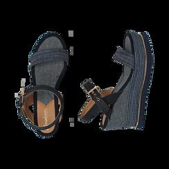 Sandali jeans, zeppa 9,50 cm , Primadonna, 154401118TSJEAN035, 003 preview