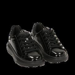 Sneakers noires en vernis, Primadonna, 162602011VENERO035, 002a