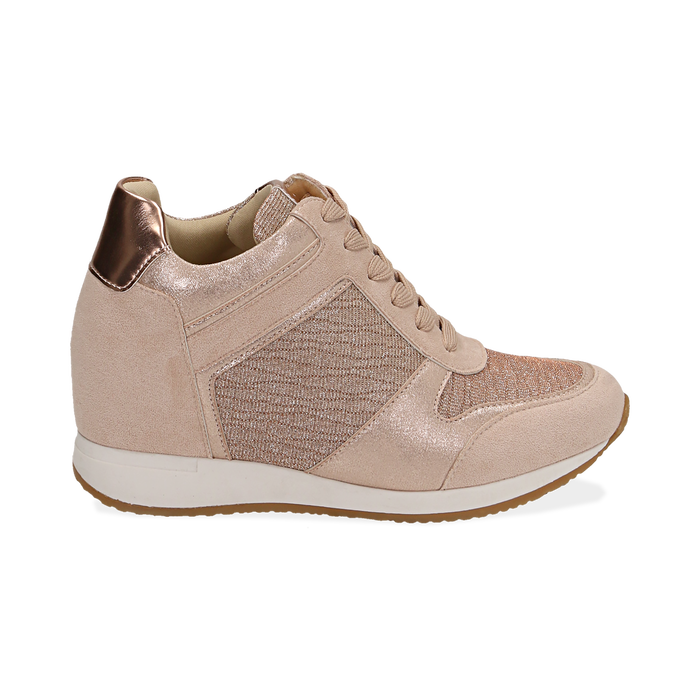 Baskets or rose brillantes compensées, Chaussures, 152821522GLRAOR038