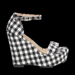 Sandali bianco/neri in tessuto Vichy, zeppa 13 cm, Scarpe, 132117220TSNEBI035, 001a