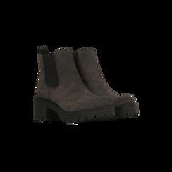 Chelsea Boots grigi in vero camoscio, tacco medio 5,5 cm, Scarpe, 127723509CMGRIG, 002 preview