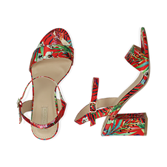 Sandali rossi in raso jungle print, tacco 8 cm, OUTLET, 154900971RSROSS036, 003 preview