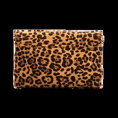 Pochette bustina leopard in microfibra con oblò dorati, Primadonna, 123308604MFLEOPUNI, 002 preview