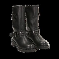 Biker boots con fibbie e borchie neri in eco-pelle, tacco 4 cm , Stivaletti, 14A719671EPNERO035, 002a