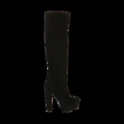 Overknee con plateau neri in microfibra, tacco 13,5 cm , Primadonna, 142103015MFNERO041, 001 preview
