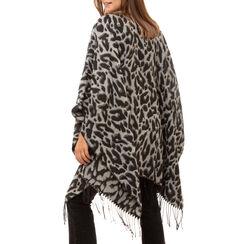 Poncho nero stampa leopard, Primadonna, 16B417318TSNEROUNI, 002a