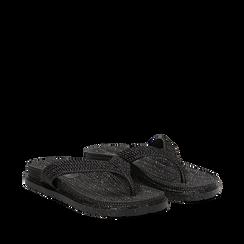 Zeppe infradito nere in pvc con strass, Saldi Estivi, 135810176PVNERO035, 002a