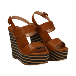Sandali platform cuoio in eco-pelle, zeppa rigata 13 cm , Primadonna, 134986213EPCUOI035, 002 preview