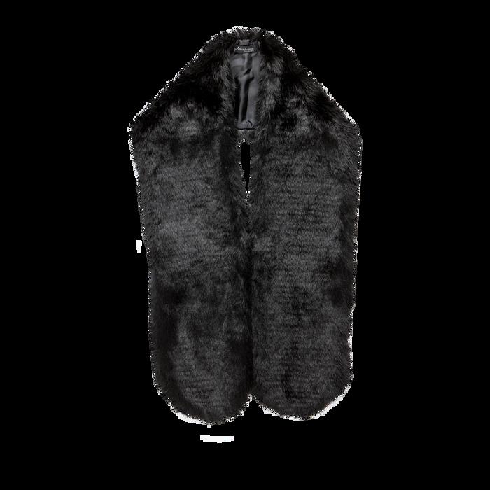 Coprispalla in eco-pelliccia nera, Saldi, 12B414001FUNERO