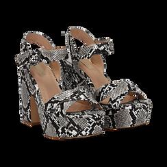 Sandali con plateau bianco/neri in eco-pelle, effetto snake skin, tacco 11 cm , Sandali con tacco, 134903269PTBINE035, 002 preview